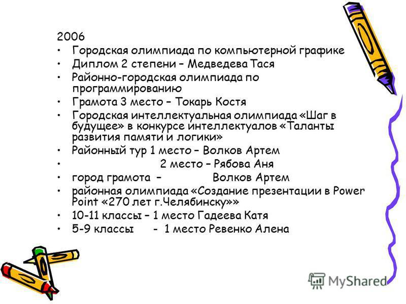 2006 Городская олимпиада по компьютерной графике Диплом 2 степени – Медведева Тася Районно-городская олимпиада по программированию Грамота 3 место – Токарь Костя Городская интеллектуальная олимпиада «Шаг в будущее» в конкурсе интеллектуалов «Таланты