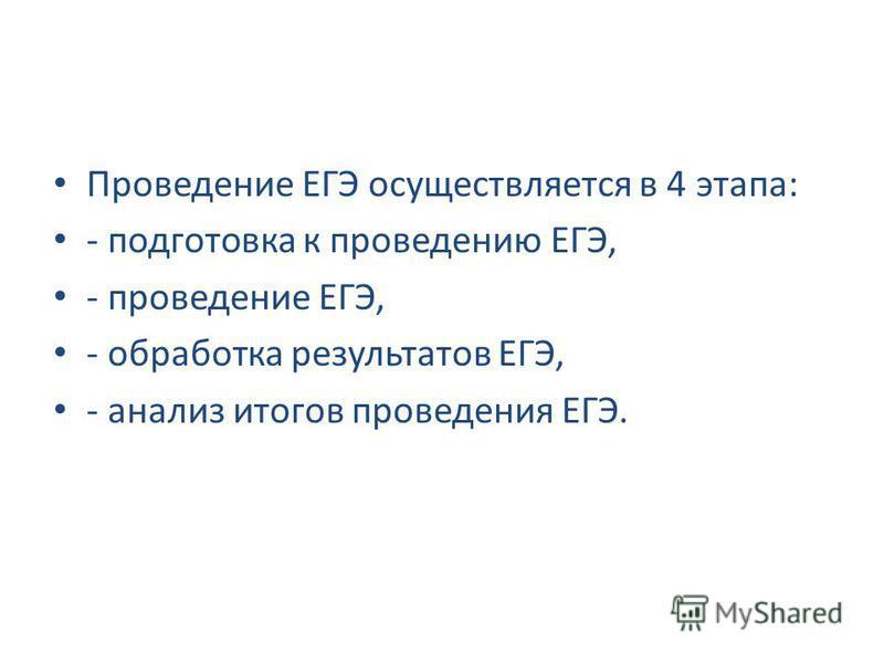 Проведение ЕГЭ осуществляется в 4 этапа: - подготовка к проведению ЕГЭ, - проведение ЕГЭ, - обработка результатов ЕГЭ, - анализ итогов проведения ЕГЭ.