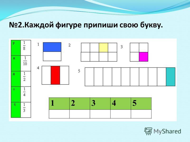2. Каждой фигуре припиши свою букву. 2. 12345