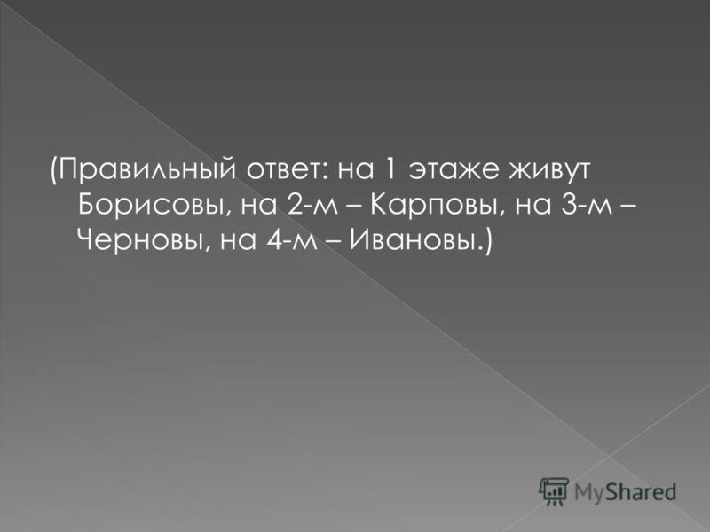 (Правильный ответ: на 1 этаже живут Борисовы, на 2-м – Карповы, на 3-м – Черновы, на 4-м – Ивановы.)