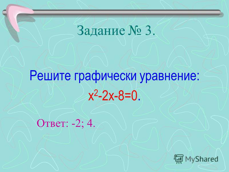 Задание 3. Решите графически уравнение: х 2 -2 х-8=0. Ответ: -2; 4.