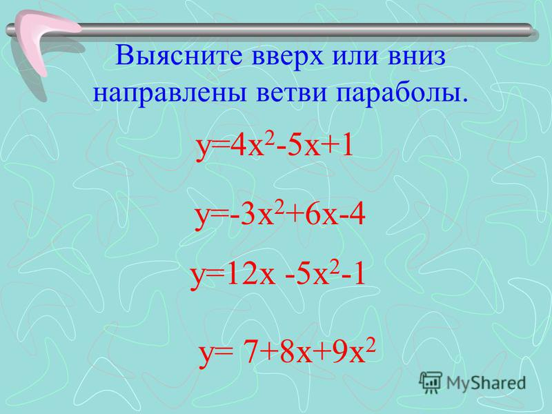 Выясните вверх или вниз направлены ветви параболы. у=-3 х 2 +6 х-4 у=12 х -5 х 2 -1 у= 7+8 х+9 х 2 у=4 х 2 -5 х+1