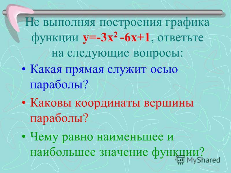 Не выполняя построения графика функции у=-3 х 2 -6 х+1, ответьте на следующие вопросы: Какая прямая служит осью параболы? Каковы координаты вершины параболы? Чему равно наименьшее и наибольшее значение функции?