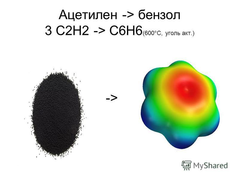 Ацетилен -> бензол 3 C2H2 -> C6H6 (600°C, уголь акт.) ->
