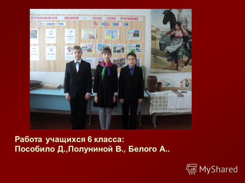 Работа учащихся 6 класса: Пособило Д.,Полуниной В., Белого А..