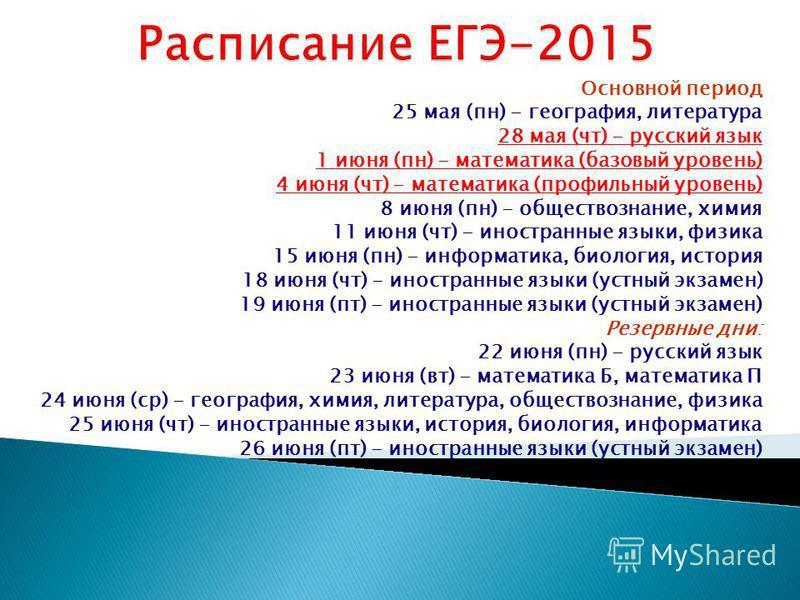 Основной период 25 мая (пн) - география, литература 28 мая (чт) - русский язык 1 июня (пн) - математика (базовый уровень) 4 июня (чт) - математика (профильный уровень) 8 июня (пн) - обществознание, химия 11 июня (чт) - иностранные языки, физика 15 ию