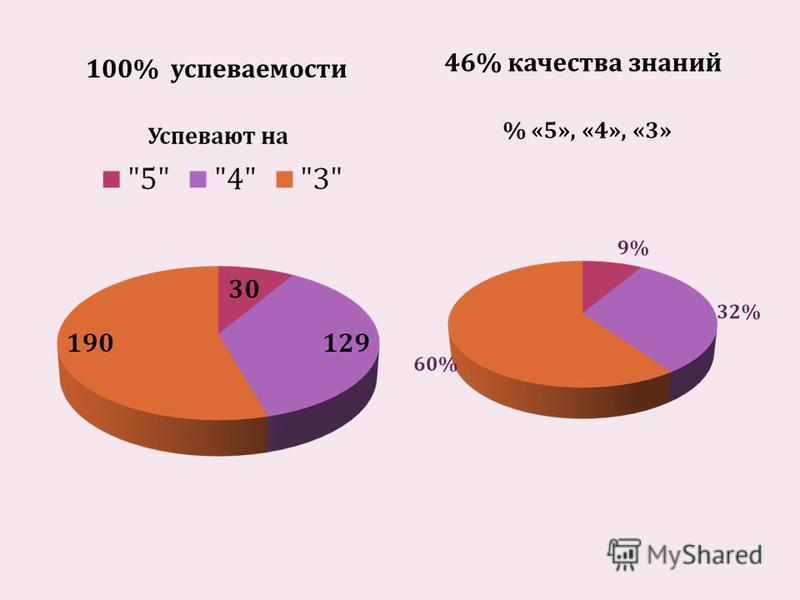 100% успеваемости 46% качества знаний