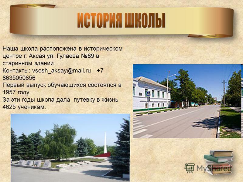 Наша школа расположена в историческом центре г. Аксая ул. Гулаева 89 в старинном здании. Контакты: vsosh_aksay@mail.ru +7 8635050656 Первый выпуск обучающихся состоялся в 1957 году. За эти годы школа дала путевку в жизнь 4625 ученикам.