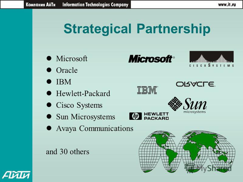 Strategical Partnership Microsoft Oracle IBM Hewlett-Packard Cisco Systems Sun Microsystems Avaya Communications and 30 others