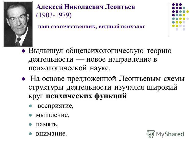 Алексей Николаевич Леонтьев (1903-1979) наш соотечественник, видный психолог Выдвинул общепсихологическую теорию деятельности новое направление в психологической науке. На основе предложенной Леонтьевым схемы структуры деятельности изучался широкий к