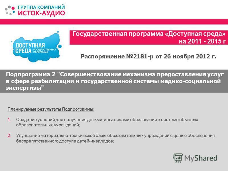 Государственная программа «Доступная среда» на 2011 - 2015 г Подпрограмма 2