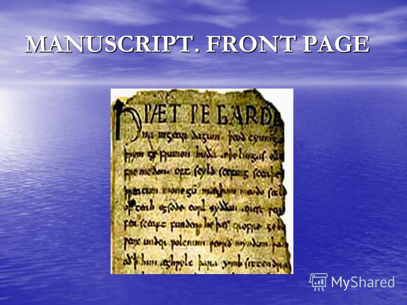 MANUSCRIPT. FRONT PAGE