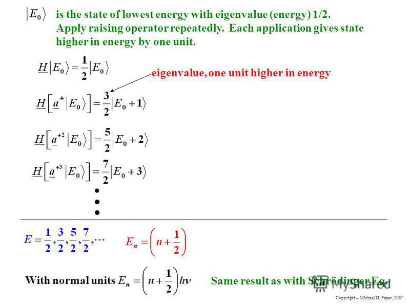 is the state of lowest energy with eigenvalue (energy) 1/2. Apply raising operator repeatedly. Each application gives state higher in energy by one unit. eigenvalue, one unit higher in energy With normal units Same result as with Schrödinger Eq. Copy