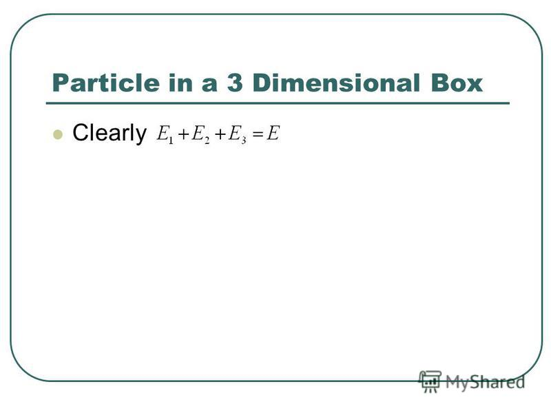 Particle in a 3 Dimensional Box Clearly