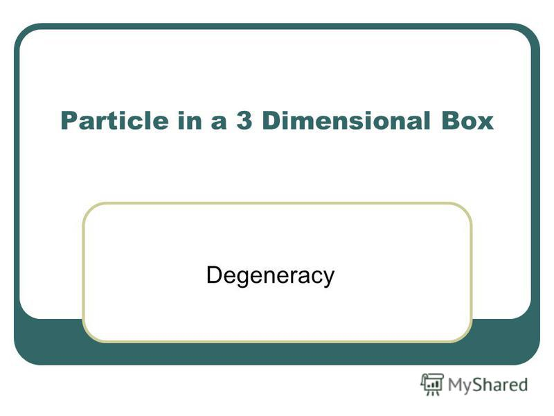 Particle in a 3 Dimensional Box Degeneracy