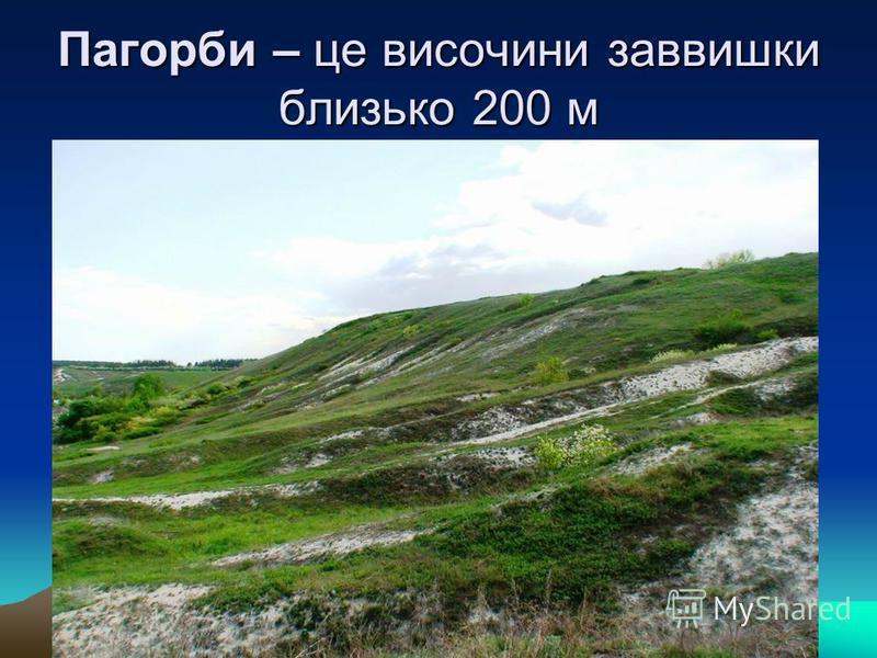 Пагорби – це височини заввишки близько 200 м