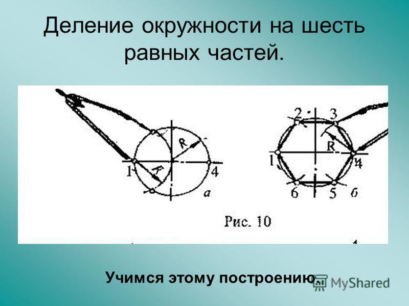 Деление окружности на шесть равных частей. Учимся этому построению.