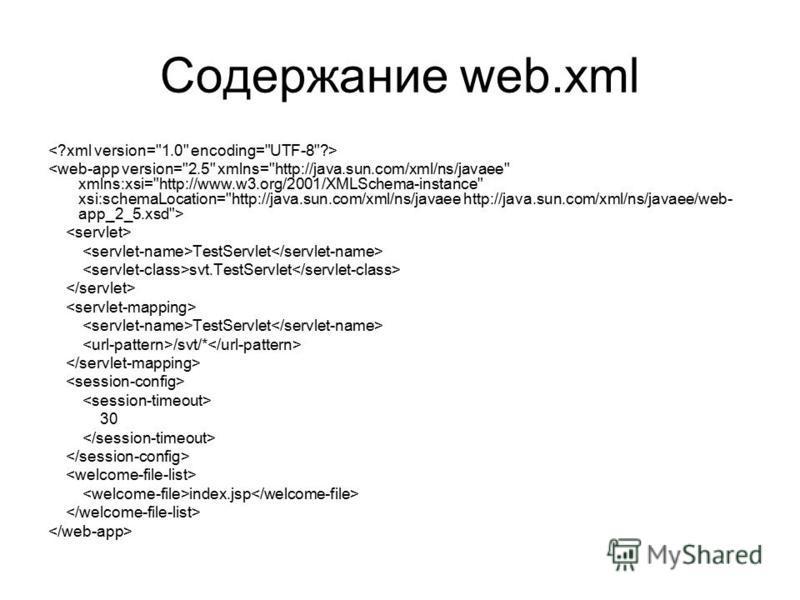 Содержание web.xml TestServlet svt.TestServlet TestServlet /svt/* 30 index.jsp