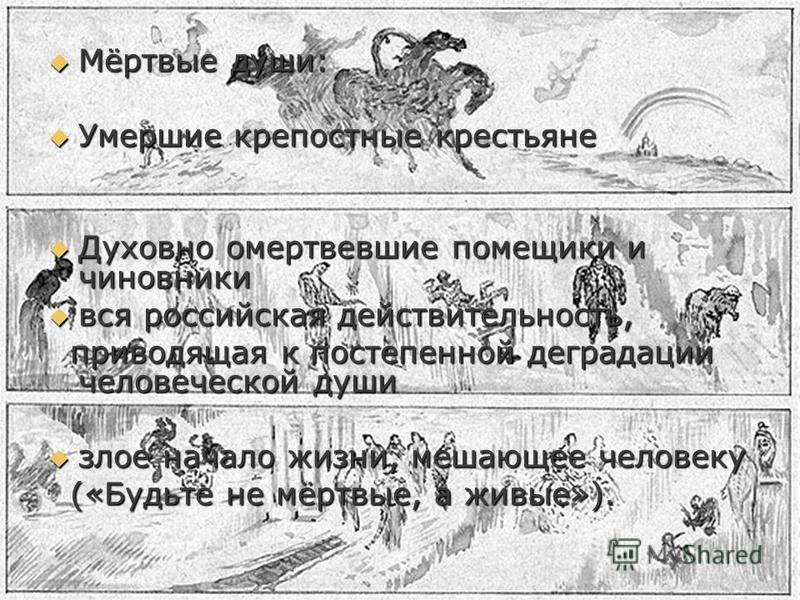 Мёртвые души: Мёртвые души: Умершие крепостные крестьяне Умершие крепостные крестьяне Духовно омертвевшие помещики и чиновники Духовно омертвевшие помещики и чиновники вся российская действительность, вся российская действительность, приводящая к пос