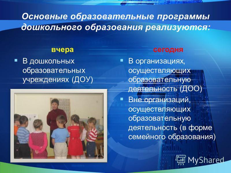 Основные образовательные программы дошкольного образования реализуются: вчера В дошкольных образовательных учреждениях (ДОУ) сегодня В организациях, осуществляющих образовательную деятельность (ДОО) Вне организаций, осуществляющих образовательную дея