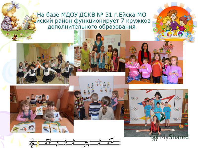 На базе МДОУ ДСКВ 31 г.Ейска МО Ейский район функционирует 7 кружков дополнительного образования