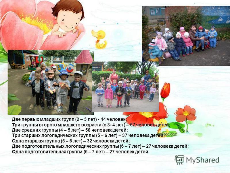 Две первых младших групп (2 – 3 лет) - 44 человек; Три группы второго младшего возраста (с 3- 4 лет) – 67 человек детей; Две средних группы (4 – 5 лет) – 58 человека детей; Три старших логопедических группы (5 – 6 лет) – 37 человека детей; Одна старш