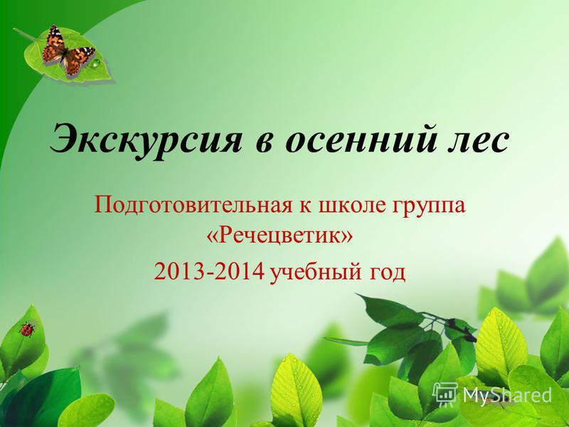 Экскурсия в осенний лес Подготовительная к школе группа «Речецветик» 2013-2014 учебный год