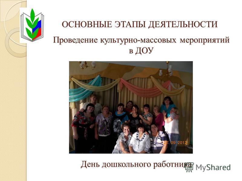 ОСНОВНЫЕ ЭТАПЫ ДЕЯТЕЛЬНОСТИ Проведение культурно-массовых мероприятий в ДОУ День дошкольного работника
