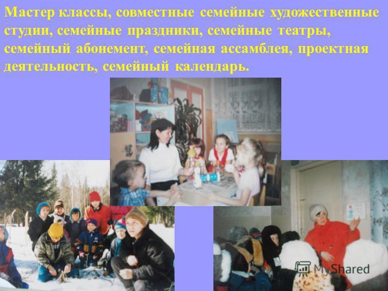 Мастер классы, совместные семейные художественные студии, семейные праздники, семейные театры, семейный абонемент, семейная ассамблея, проектная деятельность, семейный календарь.