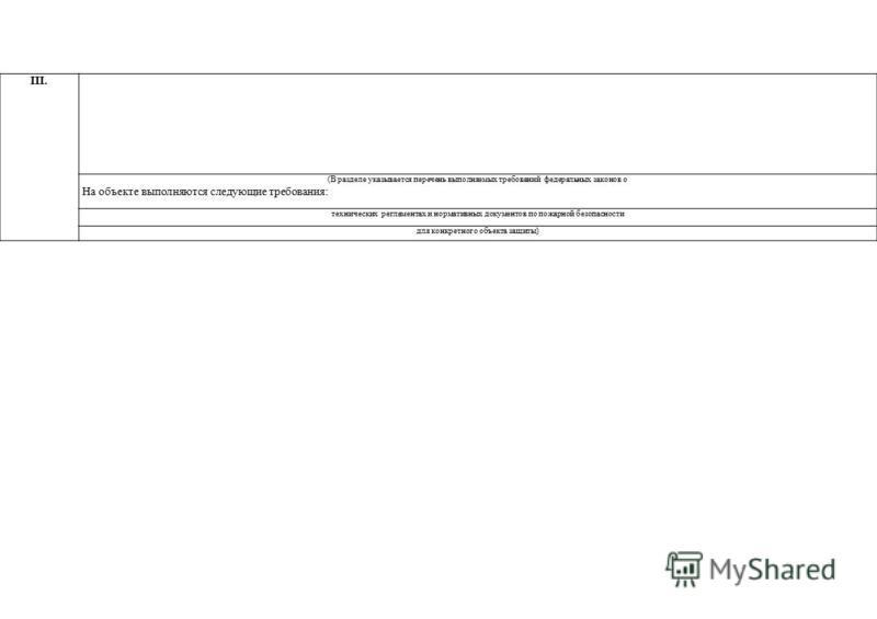 III. (В разделе указывается перечень выполняемых требований федеральных законов о На объекте выполняются следующие требования: технических регламентах и нормативных документов по пожарной безопасности для конкретного объекта защиты)