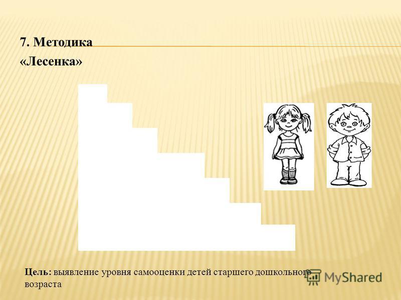 7. Методика «Лесенка» Цель: выявление уровня самооценки детей старшего дошкольного возраста