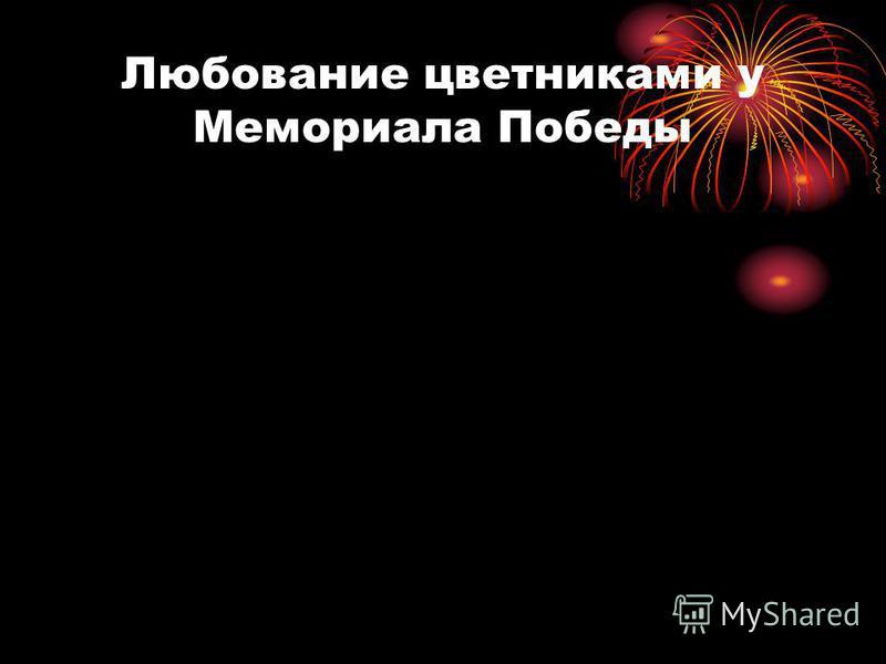Любование цветниками у Мемориала Победы