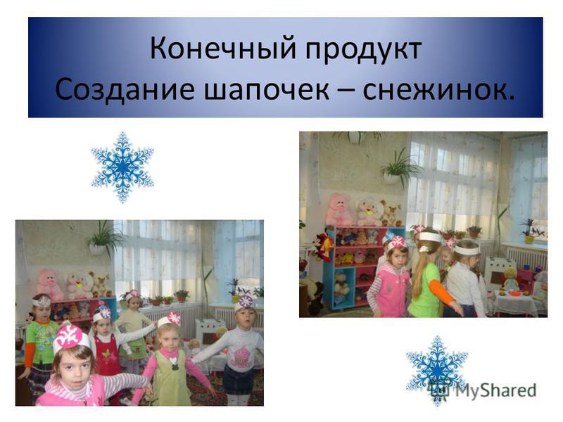 Конечный продукт Создание шапочек – снежинок.