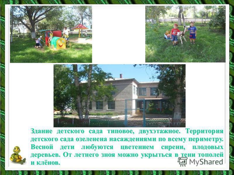 Здание детского сада типовое, двухэтажное. Территория детского сада озеленена насаждениями по всему периметру. Весной дети любуются цветением сирени, плодовых деревьев. От летнего зноя можно укрыться в тени тополей и клёнов.