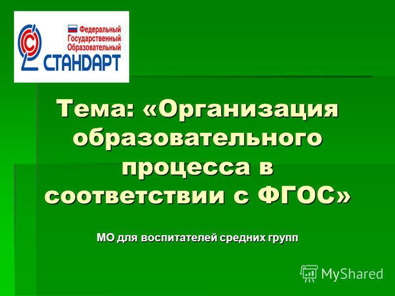 Тема: «Организация образовательного процесса в соответствии с ФГОС» МО для воспитателей средних групп