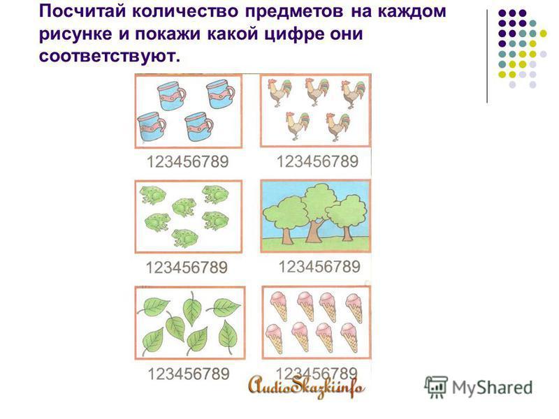 Посчитай количество предметов на каждом рисунке и покажи какой цифре они соответствуют.