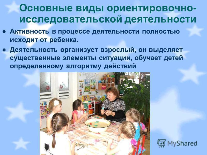 Основные виды ориентировочно- исследовательской деятельности Активность в процессе деятельности полностью исходит от ребенка. Деятельность организует взрослый, он выделяет существенные элементы ситуации, обучает детей определенному алгоритму действий