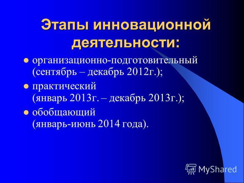 Этапы инновационной деятельности: организационно-подготовительный (сентябрь – декабрь 2012 г.); практический (январь 2013 г. – декабрь 2013 г.); обобщающий (январь-июнь 2014 года).