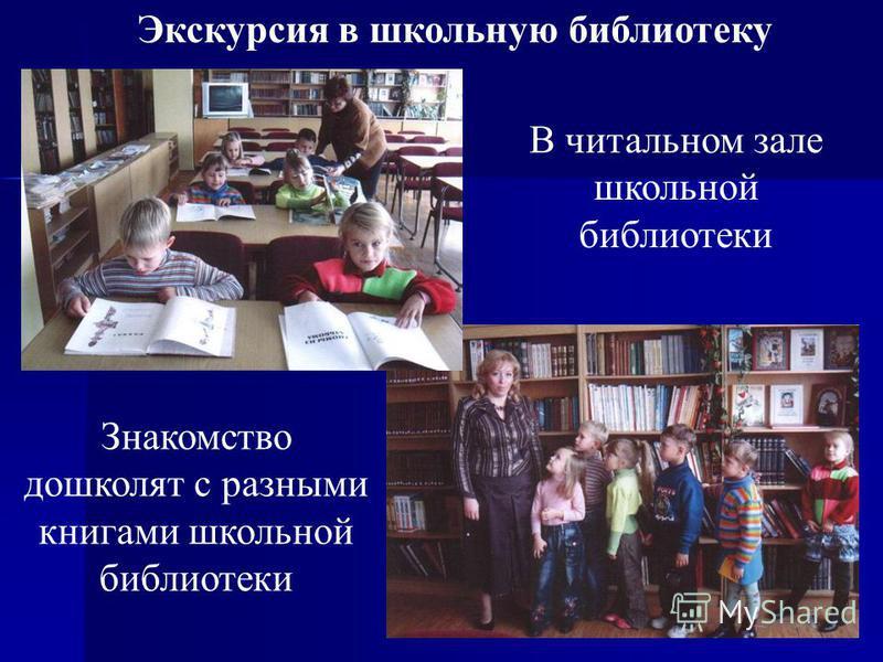 28 Экскурсия в школьную библиотеку В читальном зале школьной библиотеки Знакомство дошколят с разными книгами школьной библиотеки
