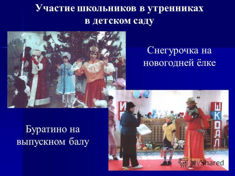 33 Участие школьников в утренниках в детском саду Снегурочка на новогодней ёлке Буратино на выпускном балу