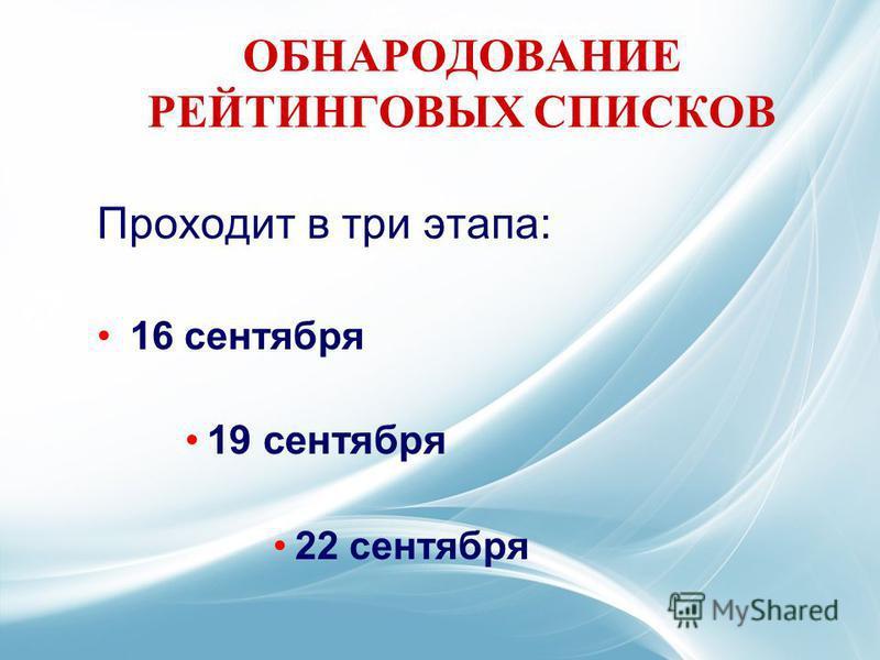 ОБНАРОДОВАНИЕ РЕЙТИНГОВЫХ СПИСКОВ Проходит в три этапа: 16 сентября 19 сентября 22 сентября