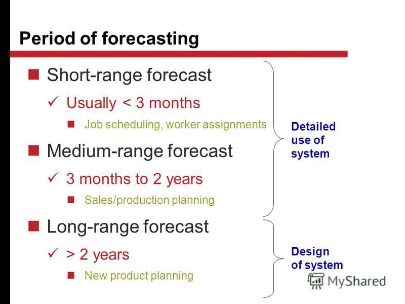 Short-range forecast Usually < 3 months Job scheduling, worker assignments Medium-range forecast 3 months to 2 years Sales/production planning Long-range forecast > 2 years New product planning Period of forecasting Design of system Detailed use of s