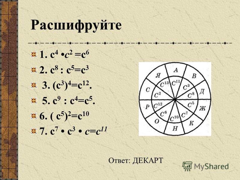 Расшифруйте 1. с 4 с 2 =с 6 2. с 8 : с 5 =с 3 3. (с 3 ) 4 =с 12. 5. с 9 : с 4 =с 5. 6. ( с 5 ) 2 =с 10 7. с 7 с 3 с=с 11 Ответ: ДЕКАРТ
