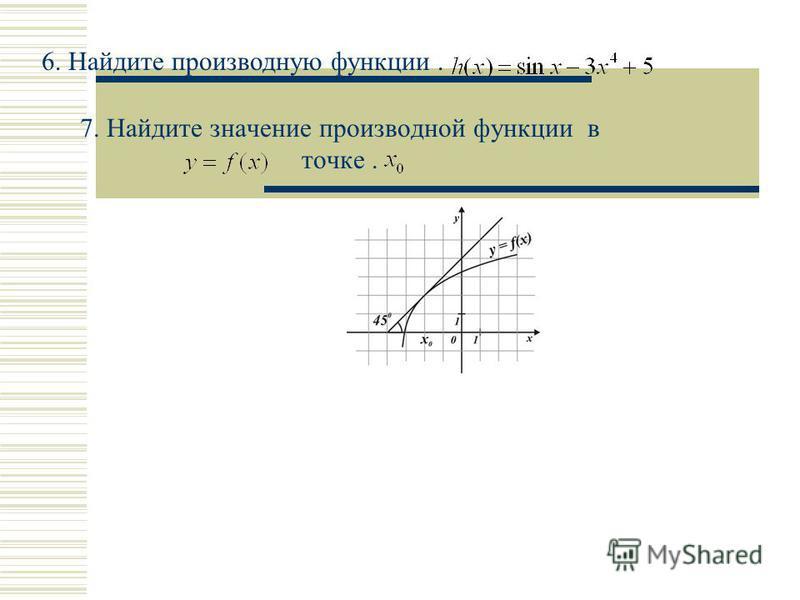 7. Найдите значение производной функции в точке. 6. Найдите производную функции.