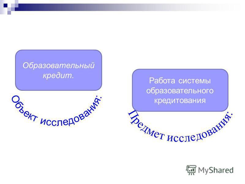 Образовательный кредит. Работа системы образовательного кредитования