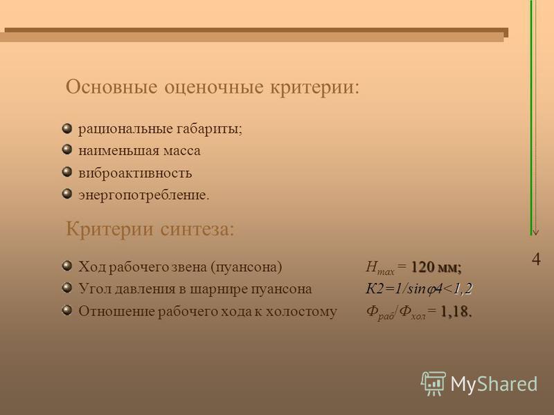 Основные оценочные критерии: рациональные габариты; наименьшая масса виброактивность энергопотребление. 120 мм; Ход рабочего звена (пуансона) H max = 120 мм; 1,2 Угол давления в шарнире пуансонаК2=1/sin 4<1,2 1,18. Отношение рабочего хода к холостому