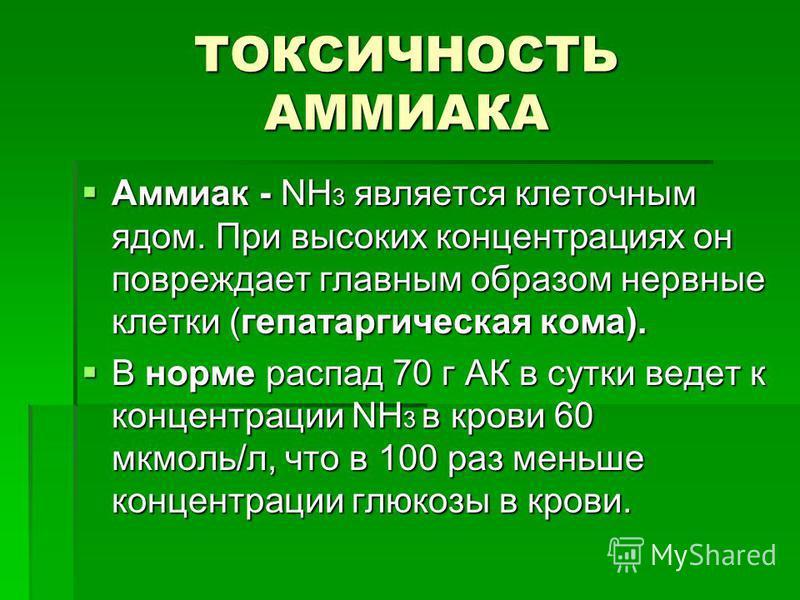 ТОКСИЧНОСТЬ АММИАКА Аммиак - NH 3 является клеточным ядом. При высоких концентрациях он повреждает главным образом нервные клетки (гепатаргическая кома). Аммиак - NH 3 является клеточным ядом. При высоких концентрациях он повреждает главным образом н