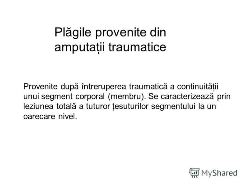 Plăgile provenite din amputaţii traumatice Provenite după întreruperea traumatică a continuităţii unui segment corporal (membru). Se caracterizează prin leziunea totală a tuturor ţesuturilor segmentului la un oarecare nivel.