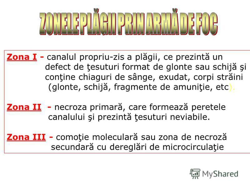Zona I - canalul propriu-zis a plăgii, ce prezintă un defect de ţesuturi format de glonte sau schijă şi conţine chiaguri de sânge, exudat, corpi străini (glonte, schijă, fragmente de amuniţie, etc). Zona II - necroza primară, care formează peretele c