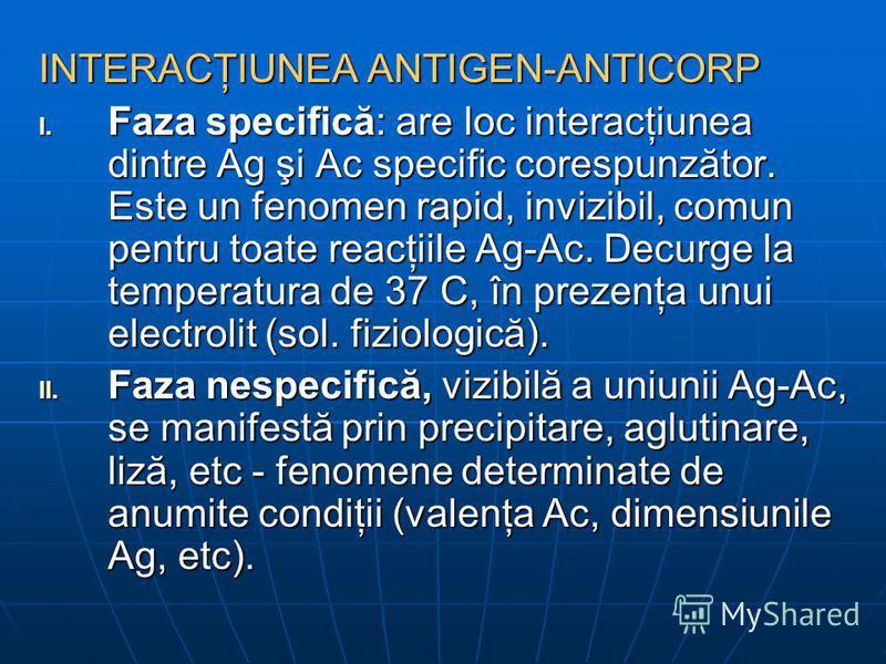 INTERACŢIUNEA ANTIGEN-ANTICORP I. Faza specifică: are loc interacţiunea dintre Ag şi Ac specific corespunzător. Este un fenomen rapid, invizibil, comun pentru toate reacţiile Ag-Ac. Decurge la temperatura de 37 C, în prezenţa unui electrolit (sol. fi